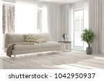 idea of white minimalist room... | Shutterstock . vector #1042950937