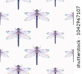 embroidery beautiful dragonfly...   Shutterstock .eps vector #1042967107