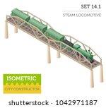 3d isometric retro railway with ... | Shutterstock .eps vector #1042971187