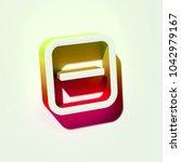 white minus in square icon. 3d... | Shutterstock . vector #1042979167
