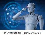 3d rendering robot working with ... | Shutterstock . vector #1042991797