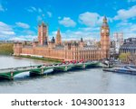 westminster palace and big ben  ... | Shutterstock . vector #1043001313