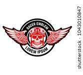 emblem template with biker...   Shutterstock .eps vector #1043010847