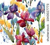 wildflower iris flower pattern...   Shutterstock . vector #1043027773
