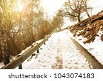 paved country road with little... | Shutterstock . vector #1043074183
