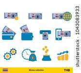 set of thai baht. banknote and...   Shutterstock .eps vector #1043083933