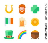 st. patrick icon set. flat... | Shutterstock .eps vector #1043085973