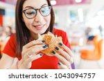 happy healthy woman sitting in...   Shutterstock . vector #1043094757
