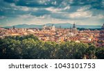 aerial panoramic view of rome... | Shutterstock . vector #1043101753
