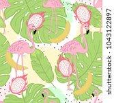 seamless flamingo tropic... | Shutterstock .eps vector #1043122897