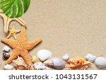 summer beach. starfish and... | Shutterstock . vector #1043131567