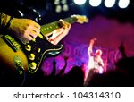 live music background,Guitar player and public - stock photo