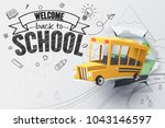 paper art of school bus jumping ... | Shutterstock .eps vector #1043146597