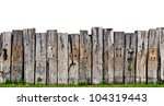 Old Wooden Fence In Garden Wit...
