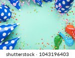 birthday paper caps with...   Shutterstock . vector #1043196403