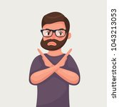 man shows a gesture stop or no. ...   Shutterstock .eps vector #1043213053