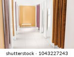 fitting and dressing rooms with ... | Shutterstock . vector #1043227243