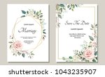 set of card with flower rose ... | Shutterstock .eps vector #1043235907