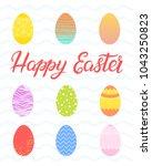 easter typography.happy easter  ... | Shutterstock .eps vector #1043250823