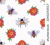 embroidery honey bees and...   Shutterstock .eps vector #1043253517