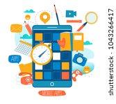 mobile application development...   Shutterstock .eps vector #1043266417