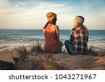 two best friends sitting on the ... | Shutterstock . vector #1043271967