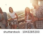 group of young friends having... | Shutterstock . vector #1043285203