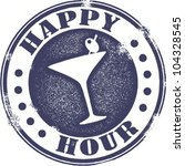 Classic Style Happy Hour Cocktail Stamp - stock vector