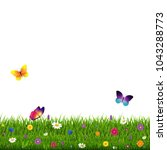 grass and flowers white... | Shutterstock . vector #1043288773