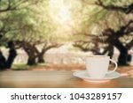 coffee espresso on wood table... | Shutterstock . vector #1043289157