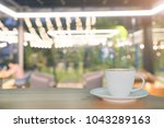 coffee espresso on wood table... | Shutterstock . vector #1043289163