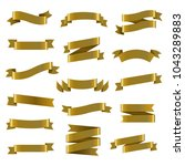 golden ribbon set  vector... | Shutterstock .eps vector #1043289883