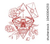 skull contour sketch for tattoo ... | Shutterstock .eps vector #1043304253