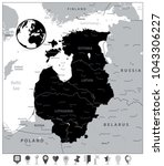 black map of the baltic states... | Shutterstock .eps vector #1043306227