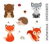 woodland animals set. | Shutterstock .eps vector #1043318653