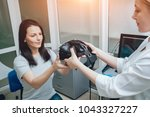ophthalmology doctor checks the ... | Shutterstock . vector #1043327227