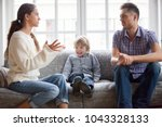 frustrated little boy son... | Shutterstock . vector #1043328133