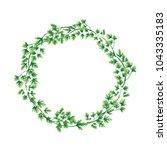 illustration. wreath of parsley ... | Shutterstock . vector #1043335183