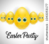 easter party lettering with... | Shutterstock .eps vector #1043353177