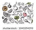 hand drawn doodle healthy food   Shutterstock .eps vector #1043354293
