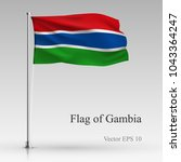 national flag of gambia... | Shutterstock .eps vector #1043364247