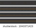 horizontal seamless roads. set... | Shutterstock .eps vector #1043371423