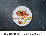 grilled shrimp with lemon and...   Shutterstock . vector #1043375377