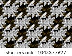 seamless vintage pattern on... | Shutterstock . vector #1043377627