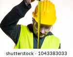 a man who wants to do a work... | Shutterstock . vector #1043383033