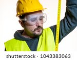 a man who wants to do a work... | Shutterstock . vector #1043383063