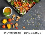 salad ingredients with lettuce  ... | Shutterstock . vector #1043383573