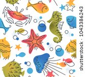 marine life color flat seamless ... | Shutterstock .eps vector #1043386243