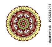 flower mandala. vintage... | Shutterstock .eps vector #1043388043