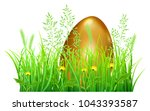 big golden easter egg in green... | Shutterstock .eps vector #1043393587